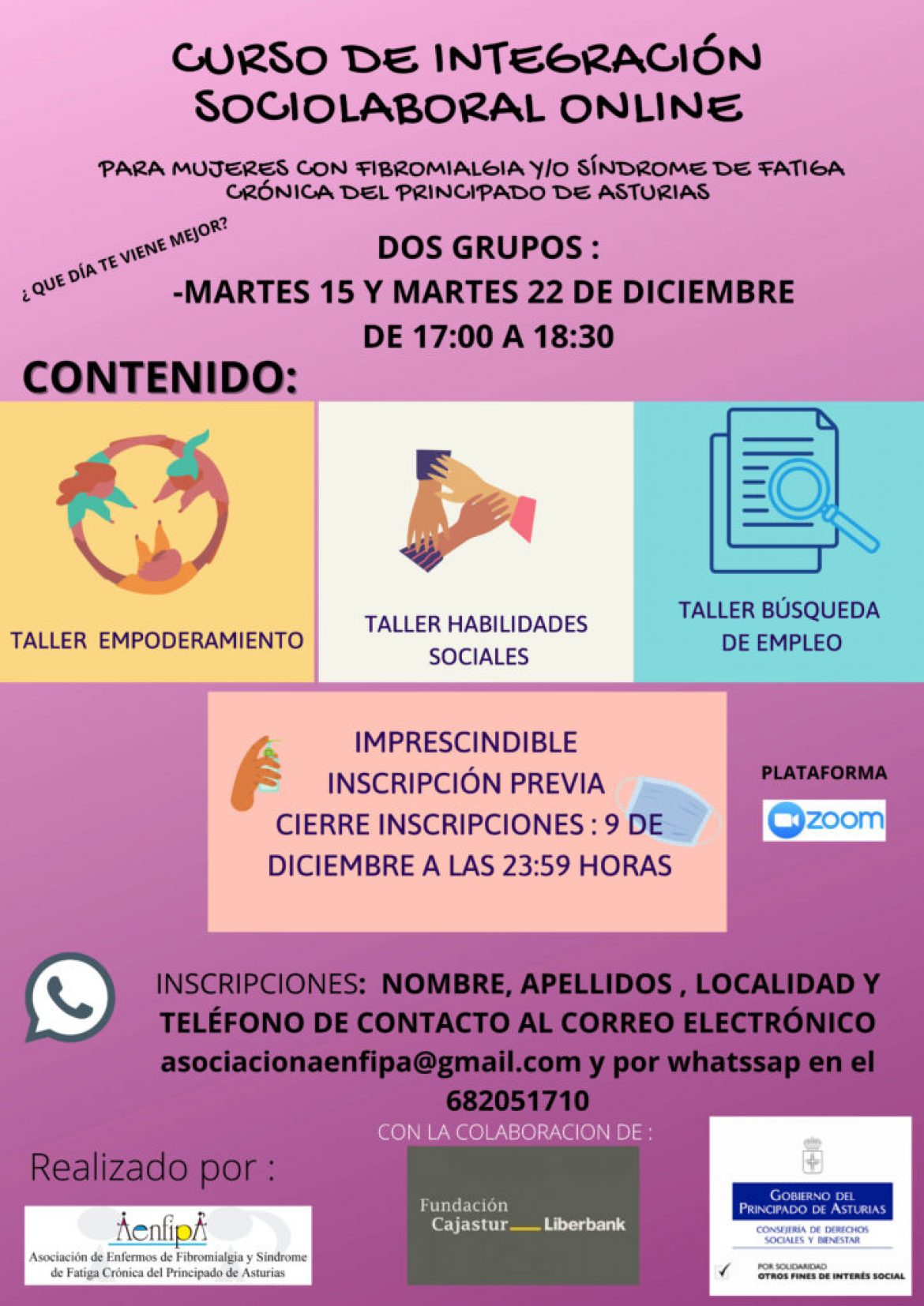 Martes 15 y Martes 18 de Diciembre de 17:00 a 18:30 Curso de Integración Socio laboral